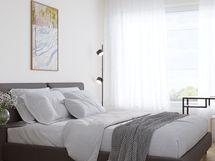 Havainnekuva 79,5 m² asunnon makuuhuoneesta