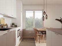 Havainnekuva 68 m² asunnon keittotilasta
