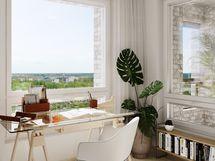 Visualisointikuvassa taiteilijan näkemys 12. kerroksen nelikon makuuhuoneesta
