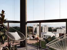 Visualisointikuva 48,5 m2 asunnon parvekkeesta.