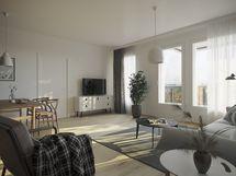 Asuintiloissa kaunis ja käytännöllinen laminaattilattia, kaikki parvekkeet on lasitettu.