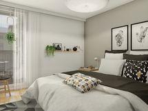 Taiteilijan näkemys asunnon makuuhuoneesta