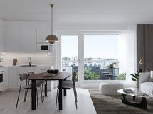Visualisointikuvassa taiteilijan näkemys 67,5 m2 kodista. Näkymä A27 asunnosta.
