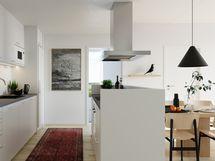 Visualisointikuvassa taiteilijan näkemys 74,5 m2 asunnon keittiöstä.