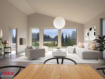 Kuva on virtuaalistailattu ja se on sisustussuunnittelijan näkemys tulevasta kodista
