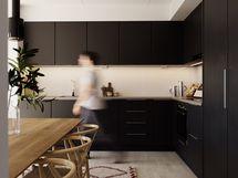 Visualisointikuvassa taiteilijan näkemys 68 m2 asunnon keittiöstä. Osa kuvan tuotteista lisähintaisia muutostöitä.