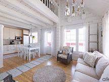 Kodin keskiö on ihanan valoisa ja avara olohuone-keittiöalue