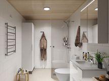 Havainnekuva 73 m2:n asunnon KPH:sta LUMI-sisustustyylillä