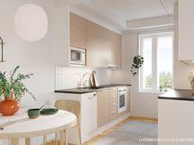 Luonnoskuva asunnon A9 keittiöstä