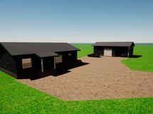 Mallinnuskuva talosta. Katto musta, talon julkisivun väriin pääset vielä vaikuttamaan.