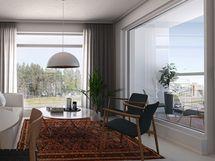 Visualisointikuvassa taiteilijan näkemys 48 m2 kodista. Visuaalinen näkymä A13 kodista.