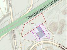 Karttakuva laajennusosa rajattu punaisella