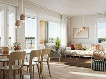 Visualisointikuvassa taiteilijan näkemys asunnosta A3