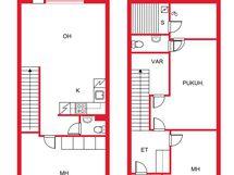 pohjakuva, josta poiketen tässä asunnossa on kaksi makuuhuonetta yläkerrassa