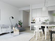 Visualisointikuva on taiteilijan näkemys vastaavankokoisesta asunnosta (peilikuva).