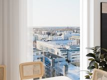 Visualisointikuvassa taiteilijan näkemys 11. kerroksen 74 m2:n kodin ruokailutilasta