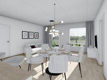80,5 m² asunnon ruokailutila ja olohuone, valkoinen sisustusmaailma