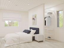 virtuaalikuva makuuhuoneesta, jossa on walking komero