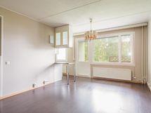 Olohuone ja keittiö avointa tilaa