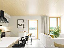 Havainnekuva asunnosta A 17, 45,5m2, taiteilijan näkemys