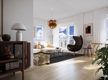Visualisointikuvassa taiteilijan näkemys Aurajokimaisemiin avautuvasta 67.5 m2 kodin olohuoneesta..
