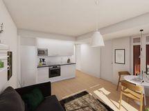 Visualisointi vastaavan asunnon olohuoneesta modernilla keittiötyylillä