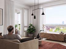 Visualisointikuvassa taiteilijan näkemys 74,5 m2 asunnon olohuoneesta.