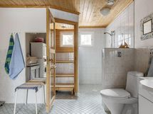 kylpyhuone ja sauna pilkistää