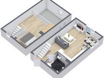 Kuvasta poiketen tässä asunnossa on koko asunnon levyinen iso parveke.