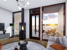 Järvinäkymä 105 m² huoneiston olohuoneesta