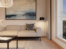 Visualisointikuvassa taiteilijan näkemys 16. kerroksen 81 m2 asunnosta 83.