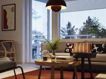 Visualisointikuvassa taiteilijan näkemys asunnosta A40