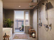Asunnon G-387 sauna/kylpyhuone-osasto