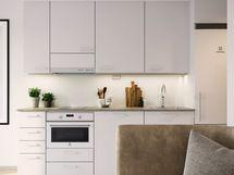 Visualisointikuvassa taiteilijan näkemys 47.5 m2 kodin keittiöstä. Osa keittiön kalusteista ja laitteista saatavilla lisähintaisina muutostöinä.