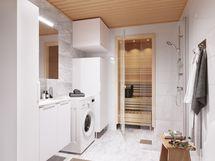 Havainnekuva 79,5 m² asunnon kylpyhuoneesta