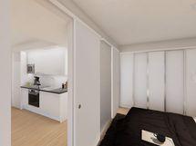 Visualisointi vastaavan asunnon makuuhuoneesta
