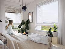 Visualisointikuvassa taiteilijan näkemys 68 m2 asunnon makuuhuoneesta.