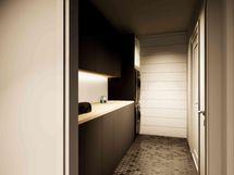 Kodinhoitohuone, josta käynti kylpyhuoneeseen (havainnekuva)