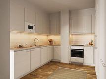 Visualisointikuvassa taiteilijan näkemys 69,0 m2 asunnon keittiöstä.