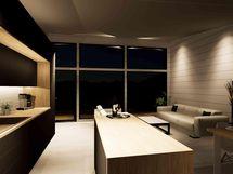 Keittiö / olohuone / ruokatila, jossa korkea katto ja avarat ikkunat (havainnekuva)