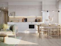 Havainnekuva 68,5 m² asunnon keittiöstä