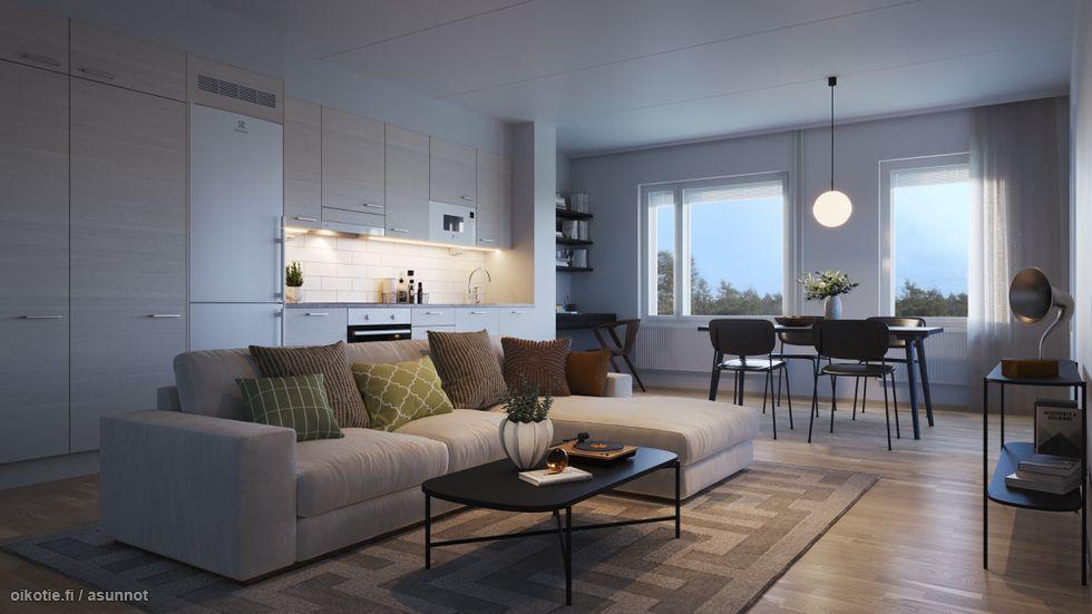 Visualisointikuvassa taiteilijan näkemys 62,5 m2 asunnon keittiöstä.