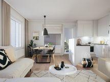 58,5m2 kolmion olohuone ja keittiö ruokailutilallaC45