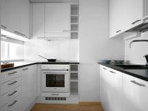 Alakerran kaksion keittiö
