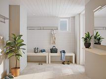 Visualisointi Rosmariinin saunaosaston pesutiloista