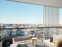 Visualisointikuvassa taiteilijan näkemys 12. kerroksen 81 m2 kodin parvekkeesta (julkisivusäleikköjen sijainnit vaihtelevat kerroksittain)