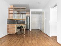 Olohuoneesta näkymä kohti keittiötä ja eteistä