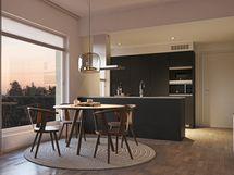 viitteellinen kuva 66 m2 asunnosta integroiduilla kodinkoneilla.