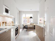 73,5m2 kolmion keittiö ja ruokailutila C46