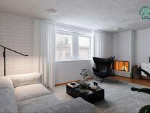 Digistailattu alakerran huone, joka on mahdollista jakaa myös kahdeksi erilliseksi huoneeksi.